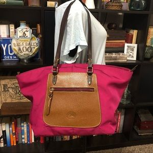 Dooney & Bourke Large Pink Canvas & Leather Tote